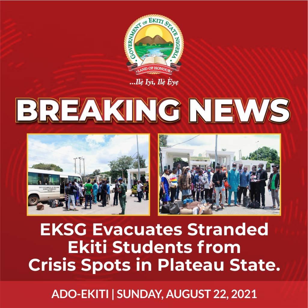 Ekiti state government evacuates stranded Ekiti students from crisis spot in Plateau State